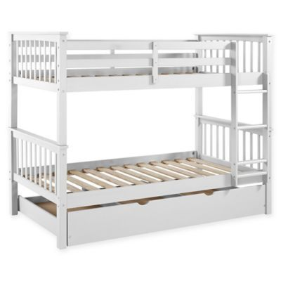 Walker Edison Twin Bunk Bed With Trundle In White Twin Bunk Beds