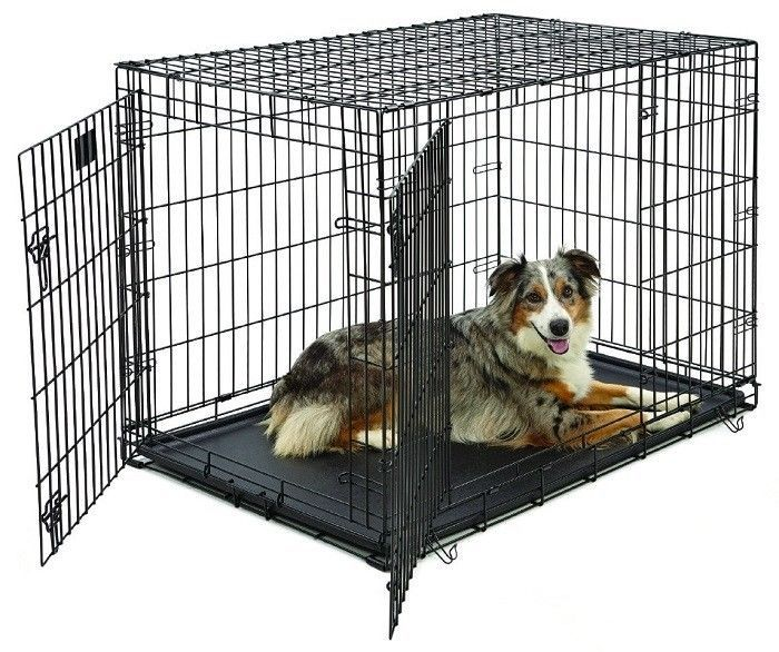Collapsible Pet Crate 42 Inch Folding Metal Wire Dog House Double Door  W/Divider