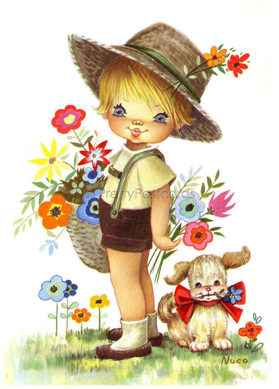 Vintage Postcard of a Big Eyed Boy and his dog by PrettyPostcards, $5.00