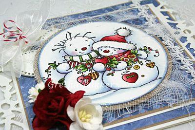 Goedemorgen,   Vorige week heb ik een workshop gegeven met deze kaart van Sugar Nellie als voorbeeld.   De stempel `Christmas Garland` h...