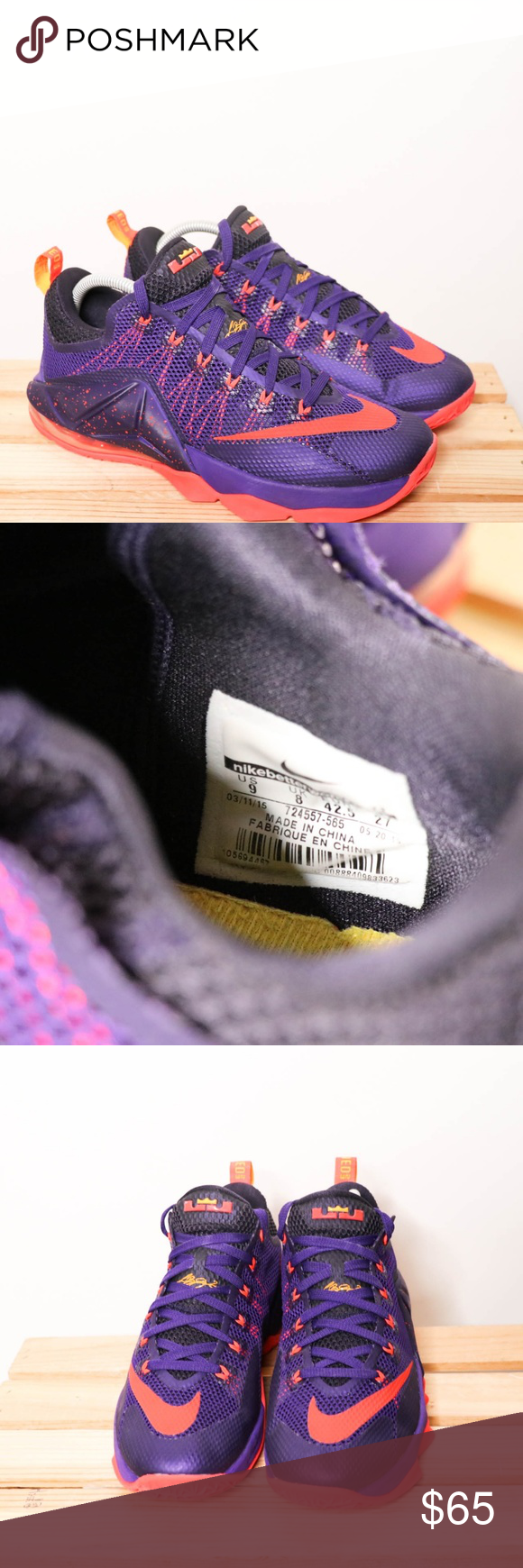 1154a169494 Nike Lebron XII Low Raptors Court Purple Bright Cr Gently used Nike Lebron  XII Low Raptors