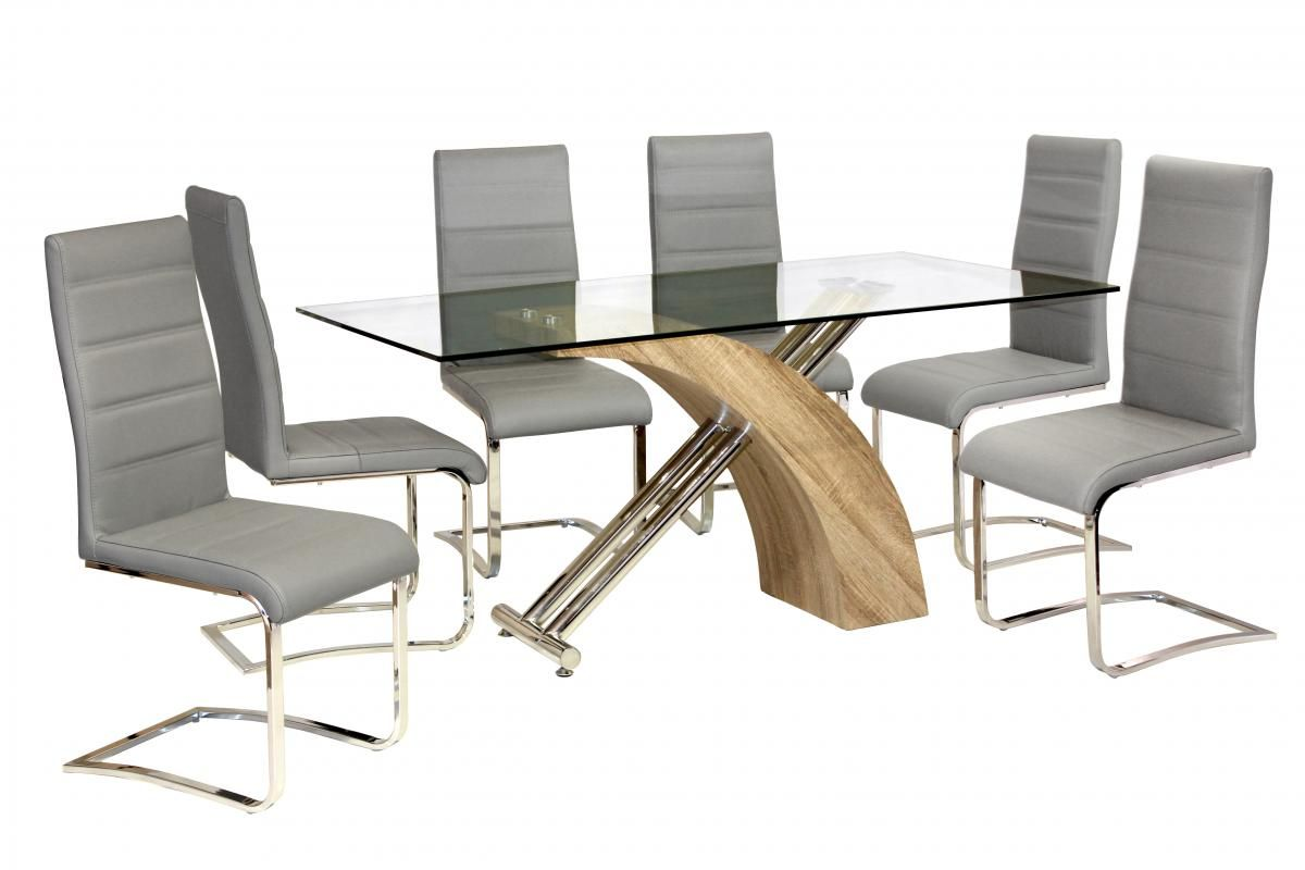 Heartlands Furniture Chiswell Dining Table Chrome Natural In