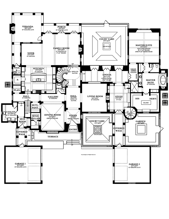 Home plans homepw76415 7 363 square feet 5 bedroom 5 for Floors of the house in spanish