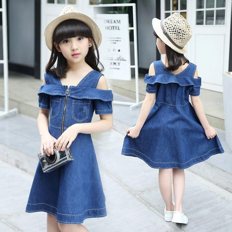 Girls Summer Dress Casual Blue Denim Kids Sleeveless Dresses Age 3-12 Years