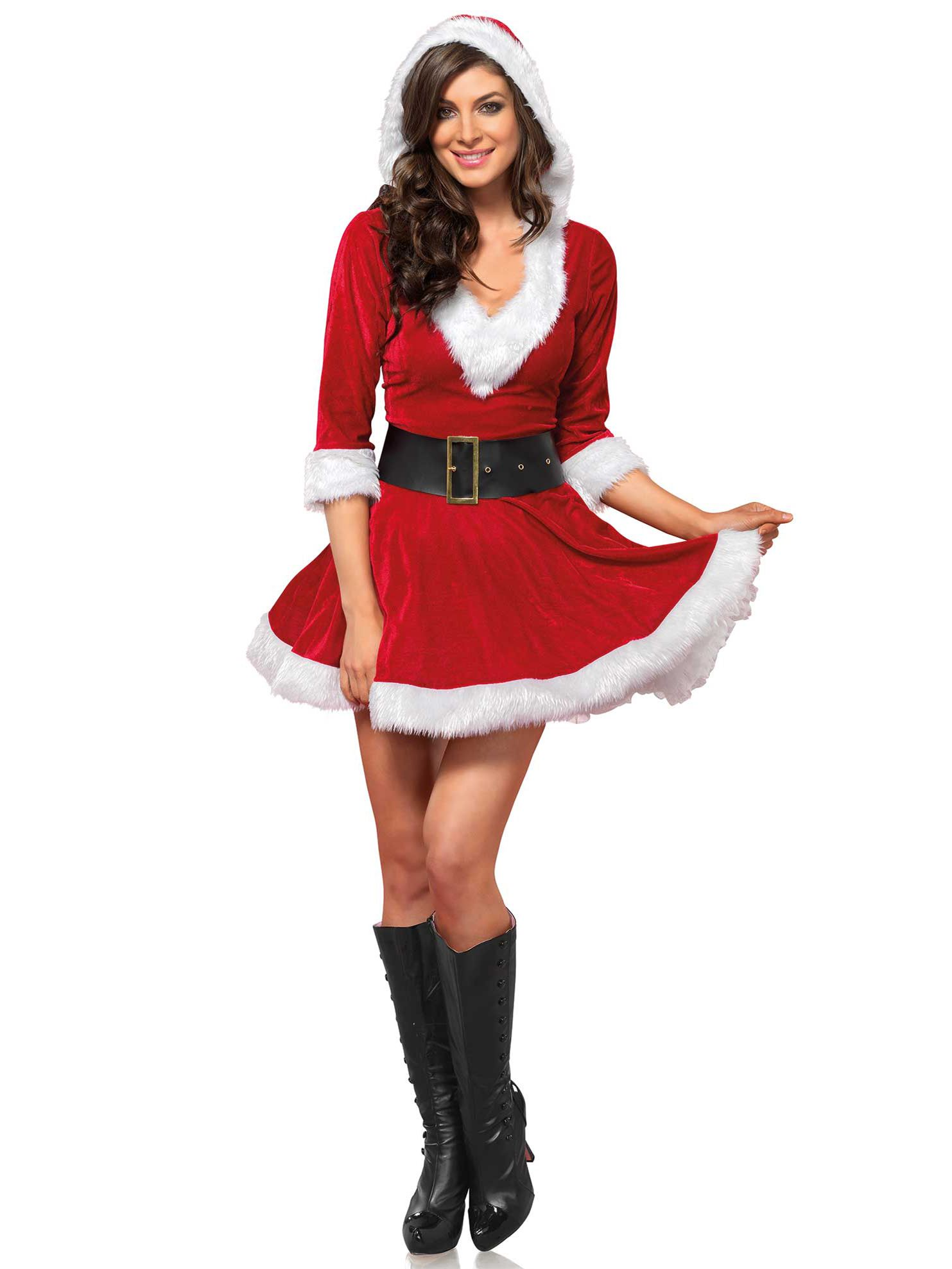 d14bcf7c2c8 Mrs Claus dress for women  This Christmas costume for women consists of a  hooded dress and a belt (boots not included). The dress has a red velvet  fabric ...