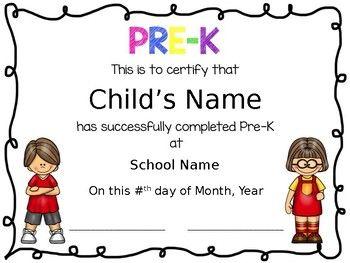 prek diplomas editable kindergarten pinterest preschool