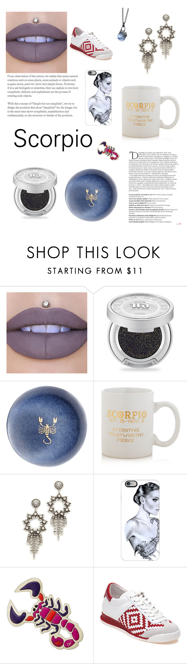 """Cosmic Jewelry: Scorpio"" by kpopqueen ❤ liked on Polyvore featuring Balmain, Urban Decay, Connor, Sparrow & Wren, DANNIJO, Casetify, Diane Von Furstenberg, Ash and Stephen Webster"