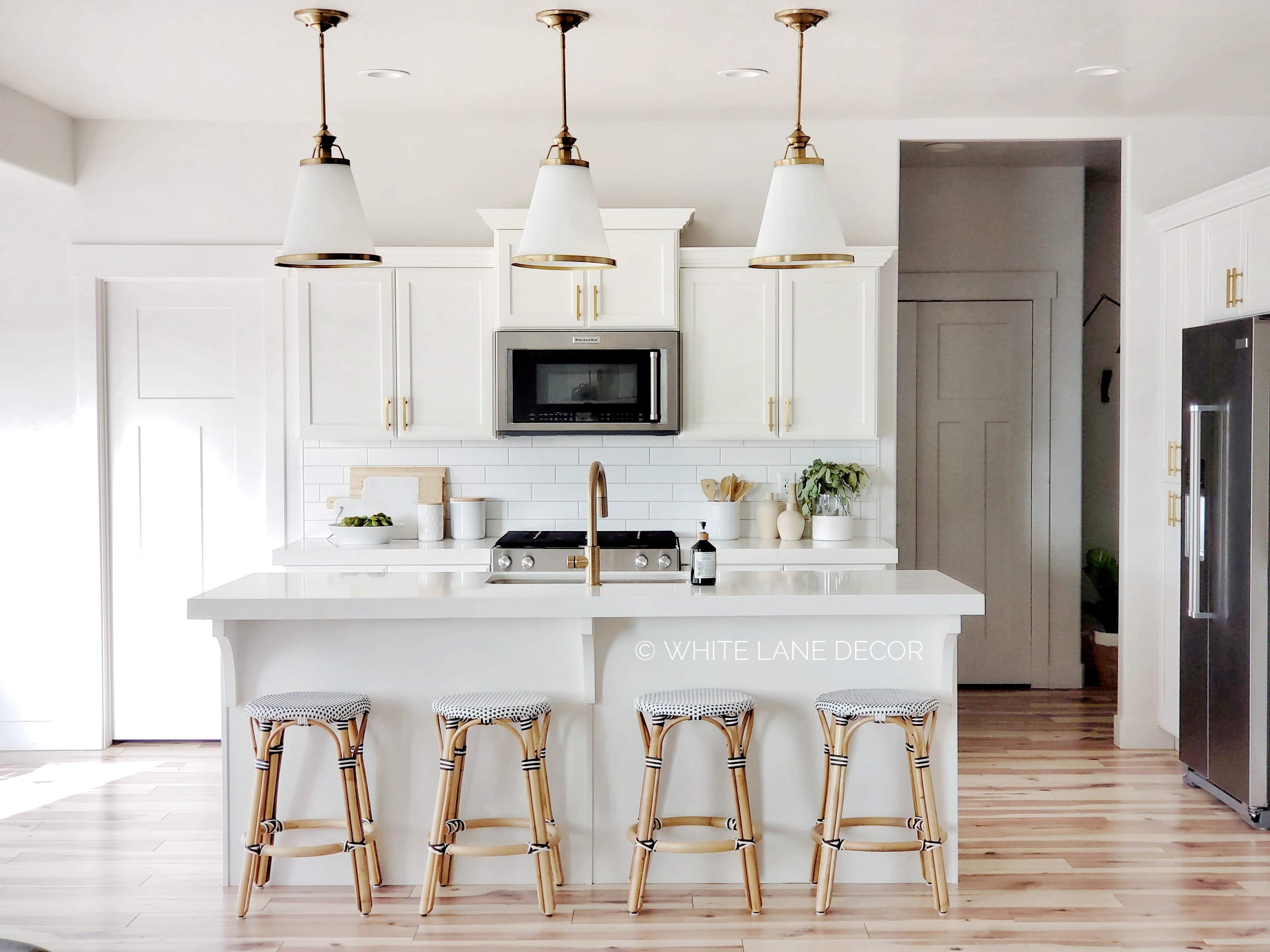 Gold And White Kitchen White Lane Decor White Wood Kitchens Modern Kitchen Design Gold Kitchen Faucet