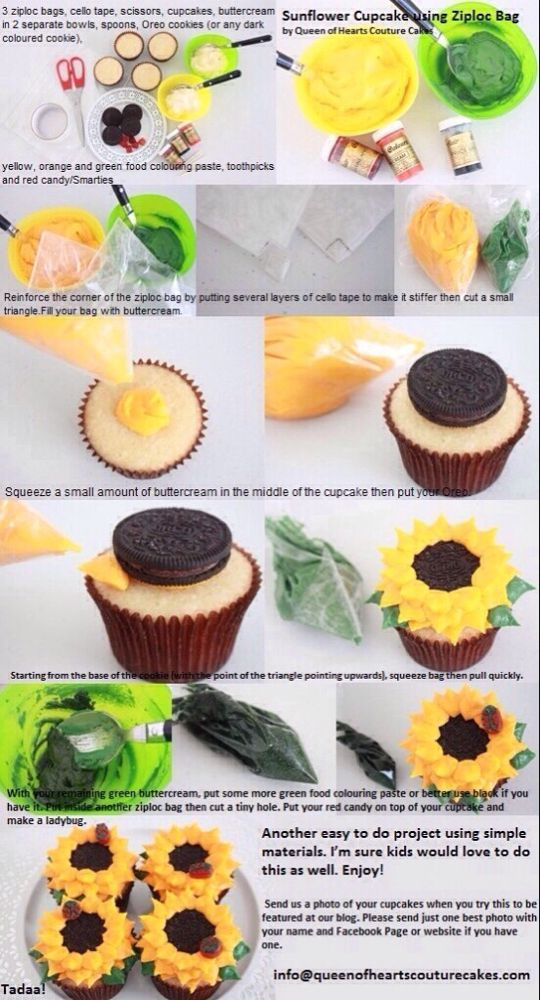 Cute Sunflower Cupcake #sunflowercupcakes