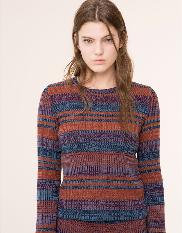 Pull&Bear - xmas - cheap & cheerful - gestreepte trui met klokkende mouw - terracotta - 09559352-I2015