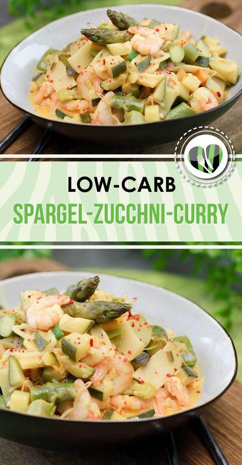Spargel-Zucchini-Curry mit Garnelen – Low Carb – LCHF – Gesund