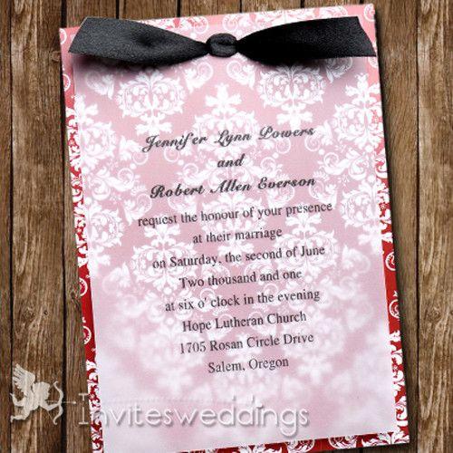Wedding Invitations Online Red Fl Black Ribbon Layered Invites