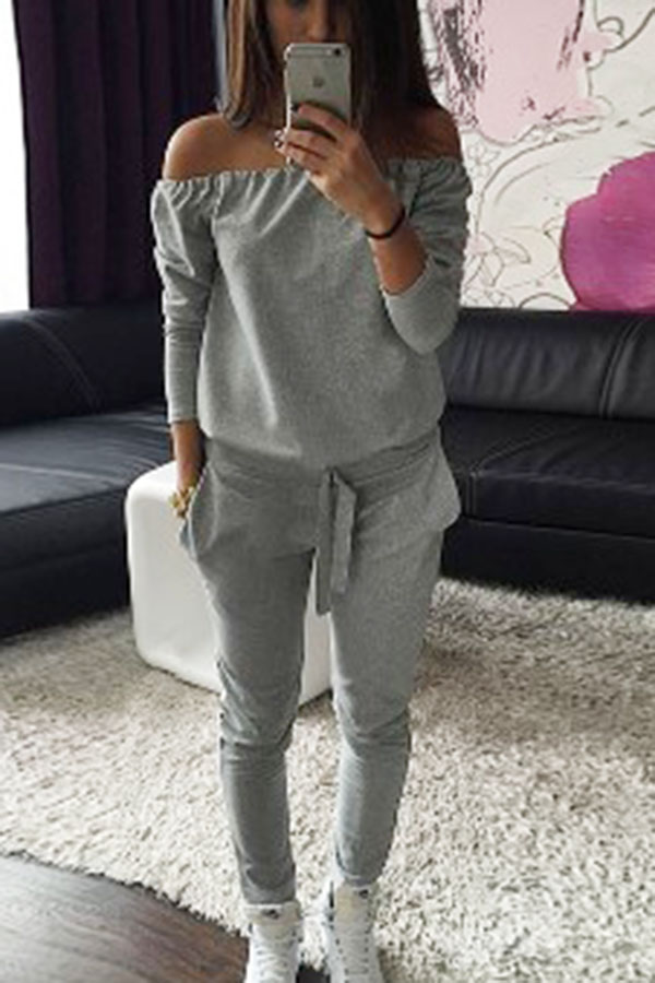 c9d3cd7b763b6 Gray Off Shoulder Long Sleeve Casual Jumpsuit | My Styleboard ...