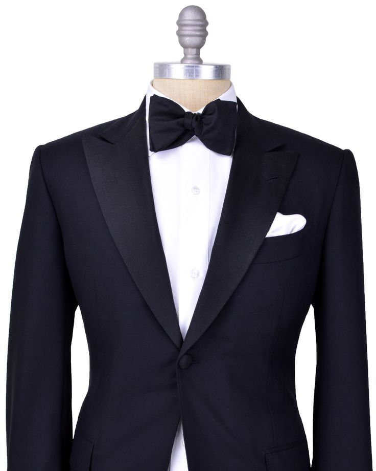 374ff0d5cdc Kiton Black Tuxedo Single button tuxedo Peak lapel Grosgrain lapel Black  melton Black lining Flap pockets Double vent Flat pant with grosgrain side  seam ...