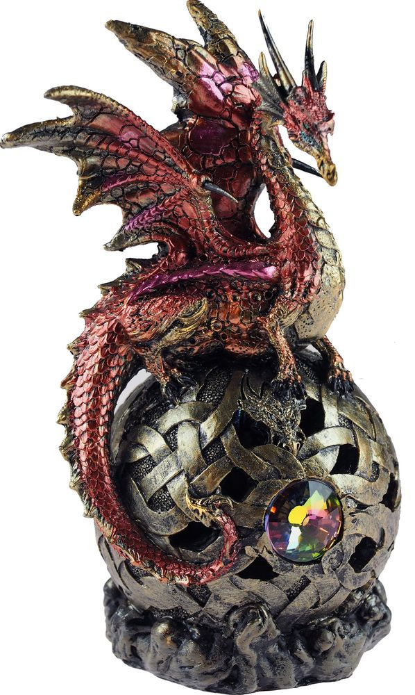 cc7c901c48 Red LED Colour Changing Panthax Dragon On Sphere Ornament Figurine in  Collectables