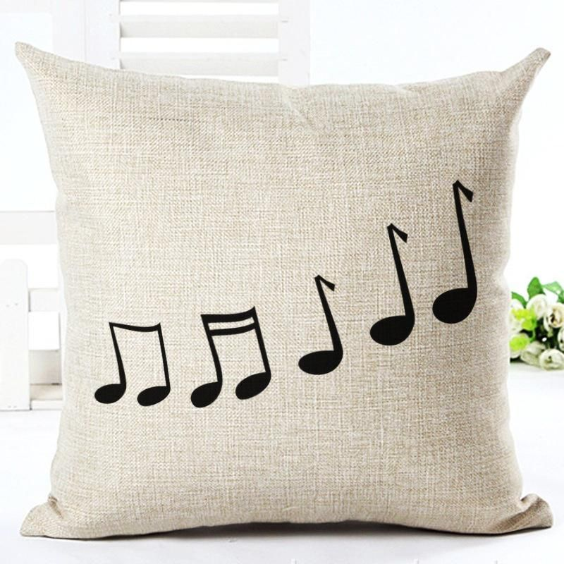 Music Series Note Printed Cotton Linen Decorative Pillow Case Seat 45 45cm Pillowcase Drop Shipping Decorative Pillow Cases Decorative Pillows Throw Pillows