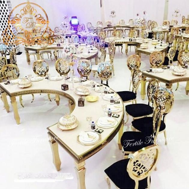 Modern Design Golden Stainless Steel Half Moon Dining Table For