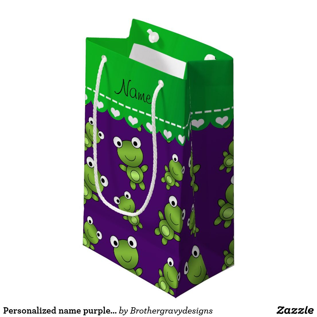Personalised Name Purple Frogs Small T Bag