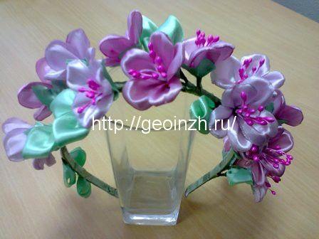 Атласные цветы для ободка своими руками