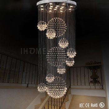 Wholesale New Style Elegant Long Spiral Crystal Ball Rain Drop Round Chandelier Hotel M Crystal Chandelier Lighting Modern Chandelier Modern Crystal Chandelier