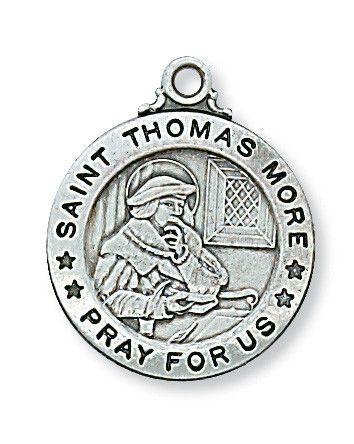 Sterling Silver St. Thomas More Pendant - Patron Saint - St. Thomas More