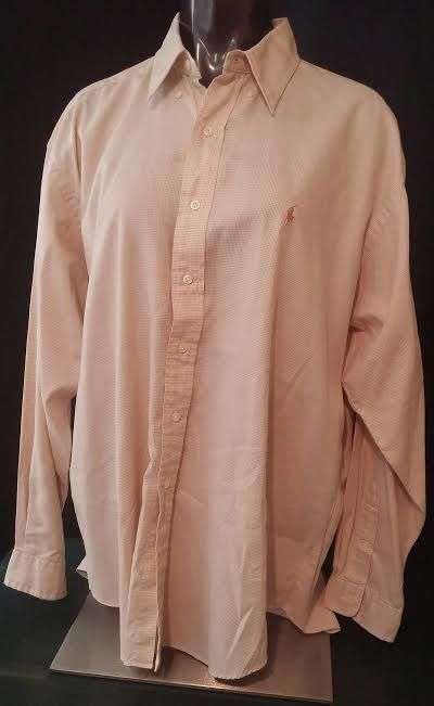 Ralph Lauren mens long sleeve button down shirt Blake tan brown checkered XL #RalphLauren #ButtonFront