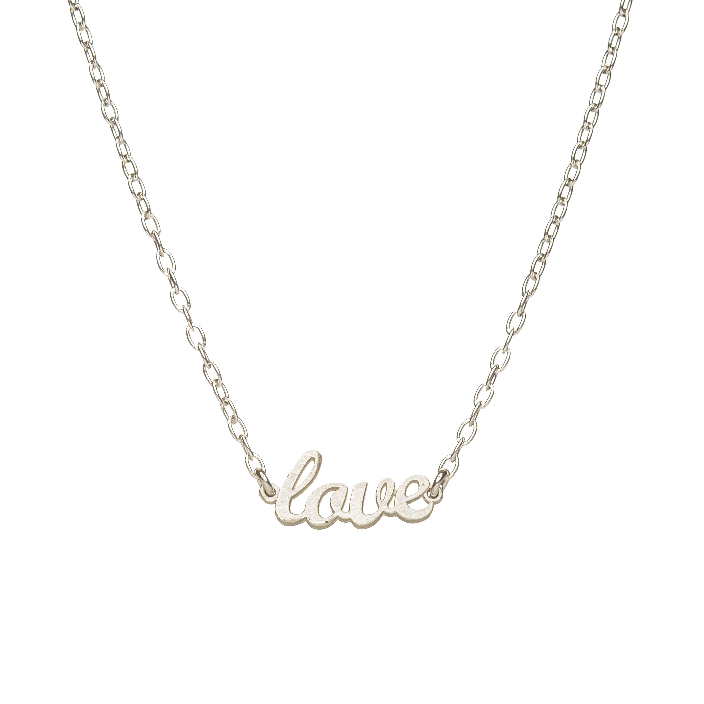 Love handwritten necklace sterling silver