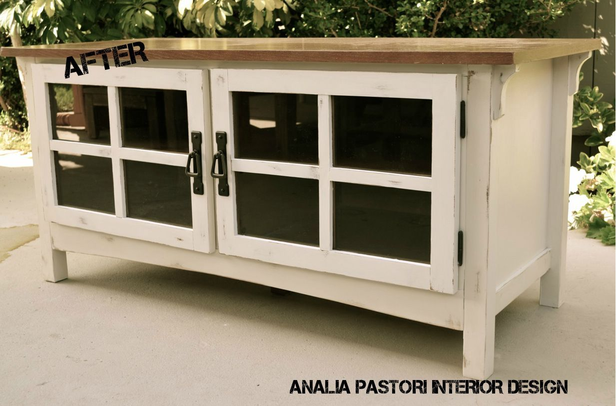 Distressed Antique white TV stand. By Analia Pastori Interior Design - Distressed Antique White TV Stand. By Analia Pastori Interior