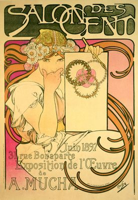Poster advertising the 'Salon des Cent' Mucha Exhibition, 1897 (colour litho)