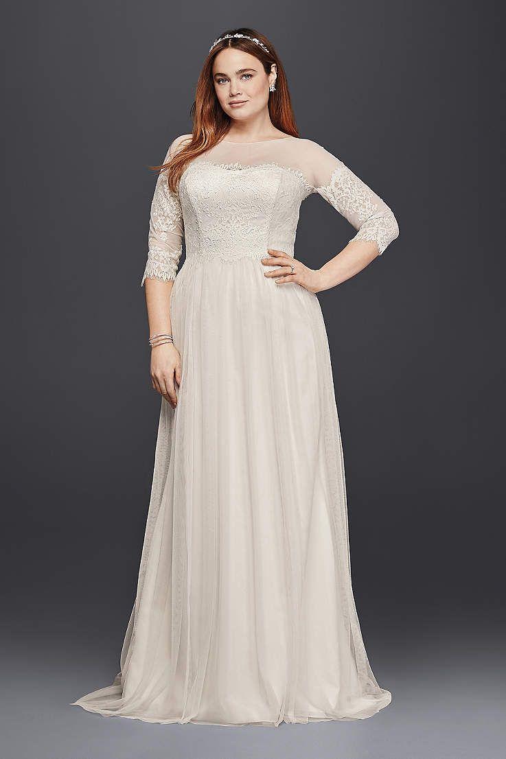 David S Bridal Has Beautiful Plus Size Wedding Dresses That Come In A Va Plus Size Wedding Dresses With Sleeves Lace Wedding Dress With Sleeves Wedding Dresses [ 1106 x 737 Pixel ]