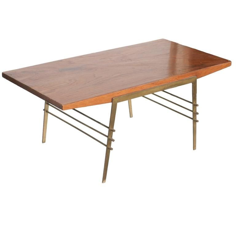 MidCentury Oak Coffee Table With Brass Architectural Base Oak - Mid century oak coffee table