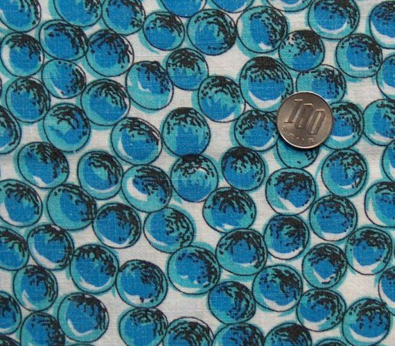 vintage feedsack fabric  BLUE MARBLES by NauvooQuiltCo on Etsy, $3.50