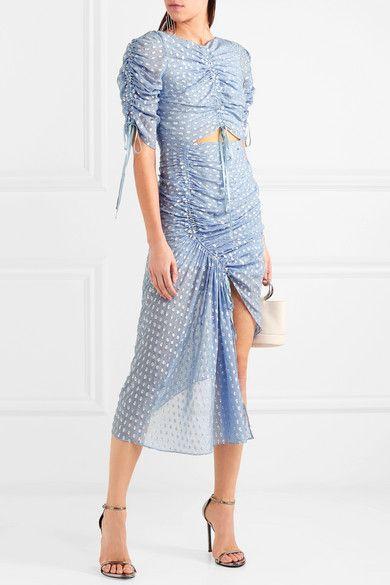I Feel It Coming Asymmetric Gathered Fil Coupé Georgette Midi Dress - Blue Alice McCall rvNQek9