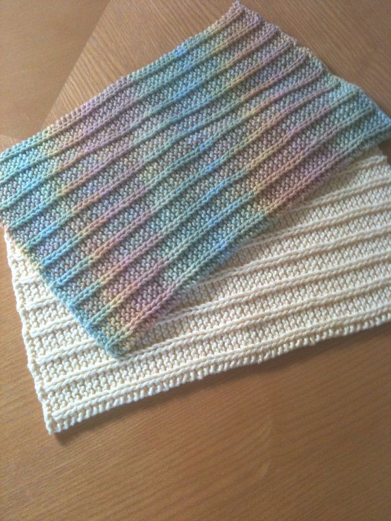 Hand Knitted Baby Burp Cloths by GranasCorner on Etsy, $20.00