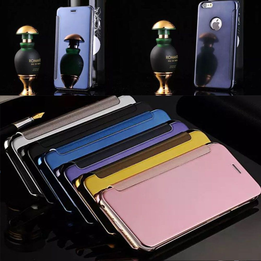 Luxury Ultra Thin Smart Flip View Mirror Leather Case Cover For Huawei Oppo Vivo