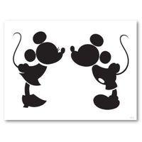 ミッキーとミニーがチューしているシルエット