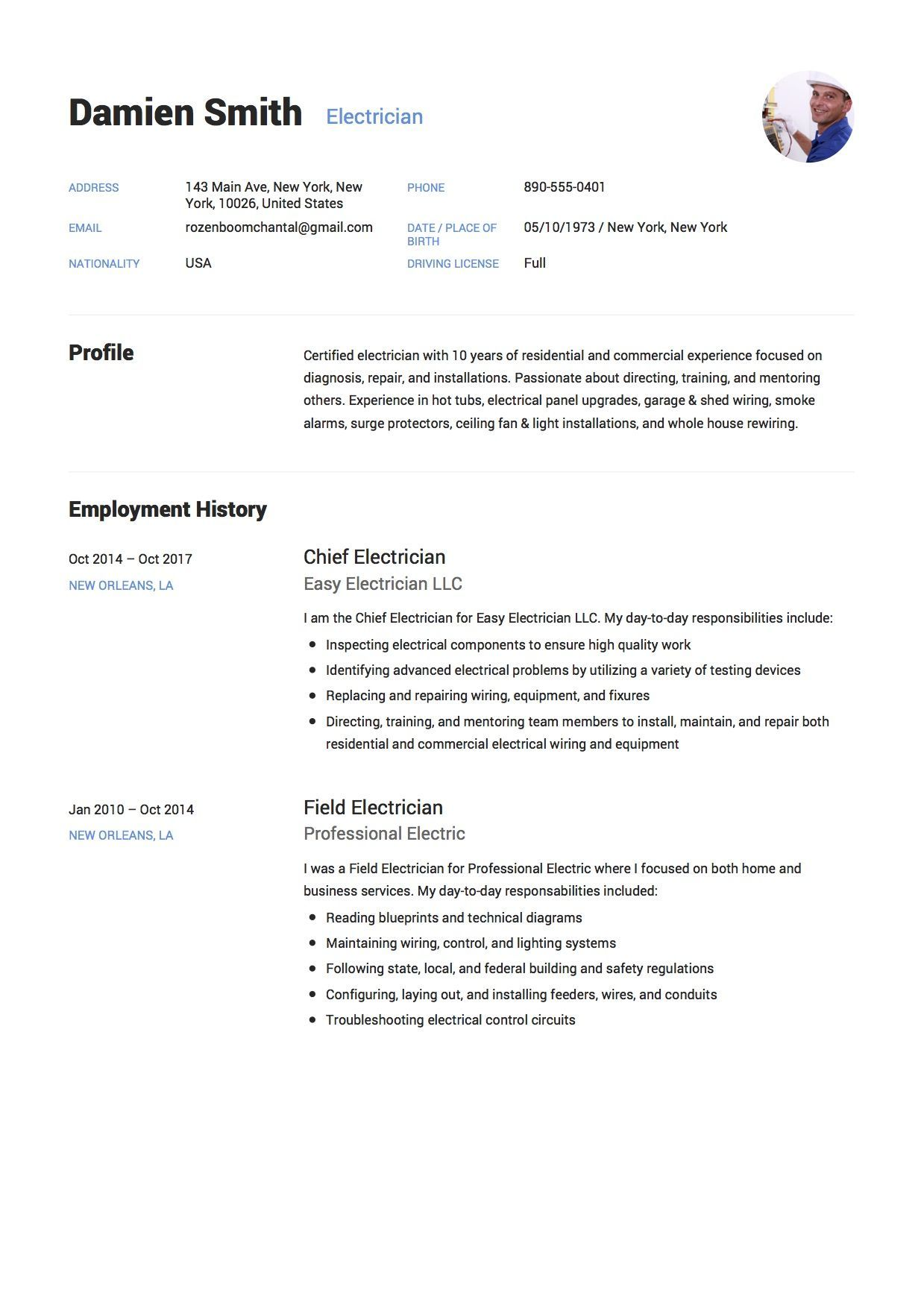 Example Of A Cv Free Electrician Resume Sample Template Example Cv Resume .