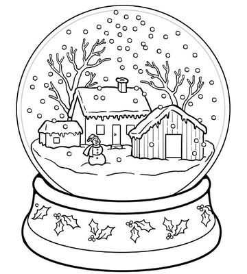 Printable Winter Coloring Pages | Meredith corporation, Glass domes ...