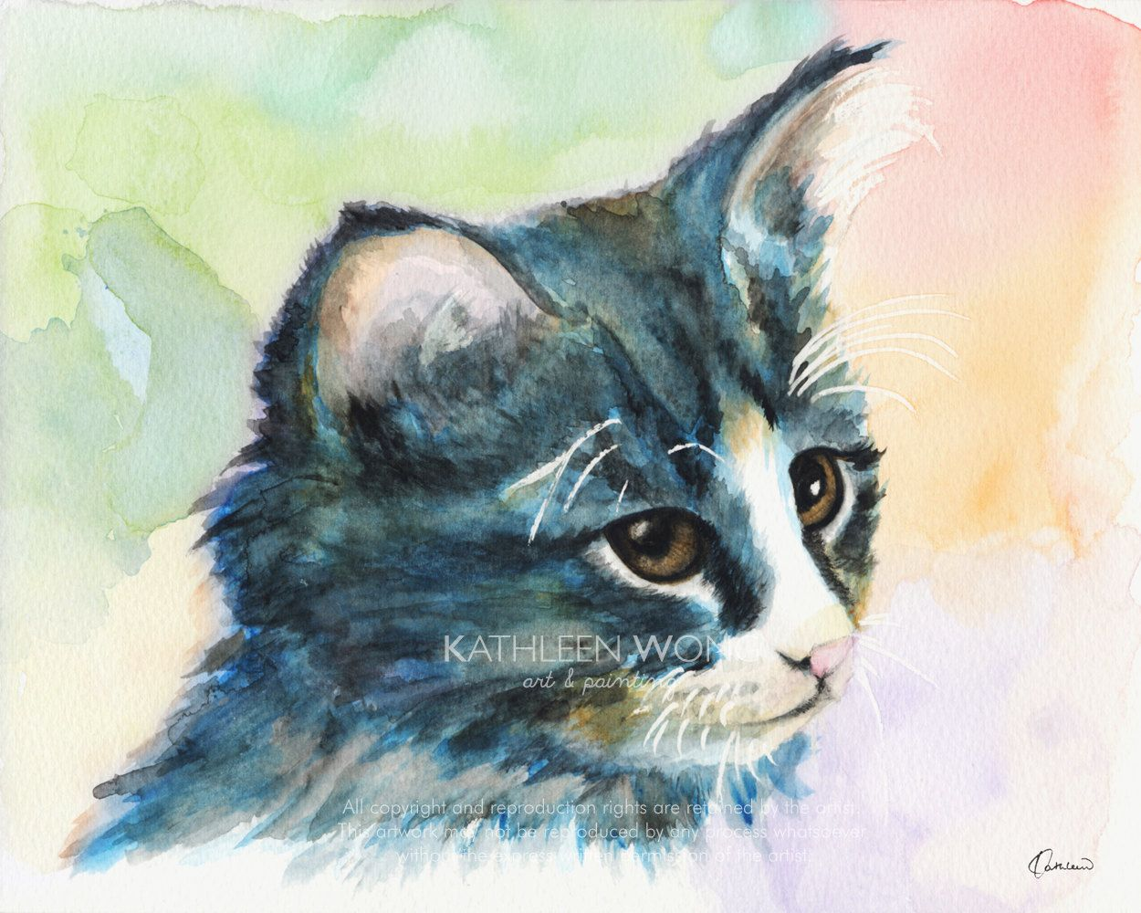Watercolor A Pitiable Kitten Art Prints Signed By Artist Animal Art Watercolor Cat Kitten Art Cat Painting