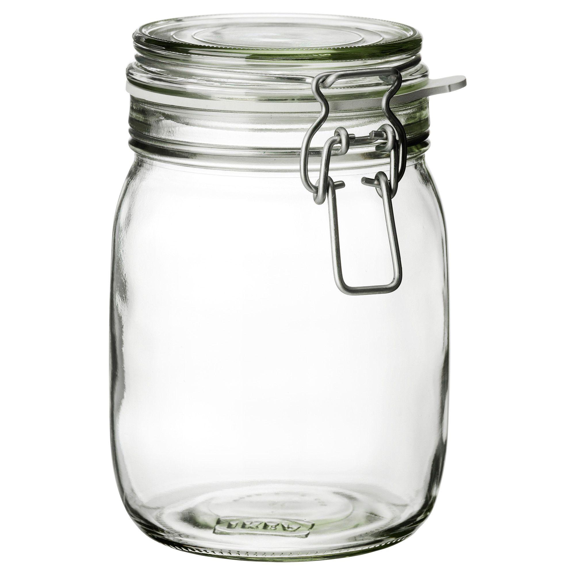 KORKEN Jar with lid, clear glass | Dream Home | Jar storage
