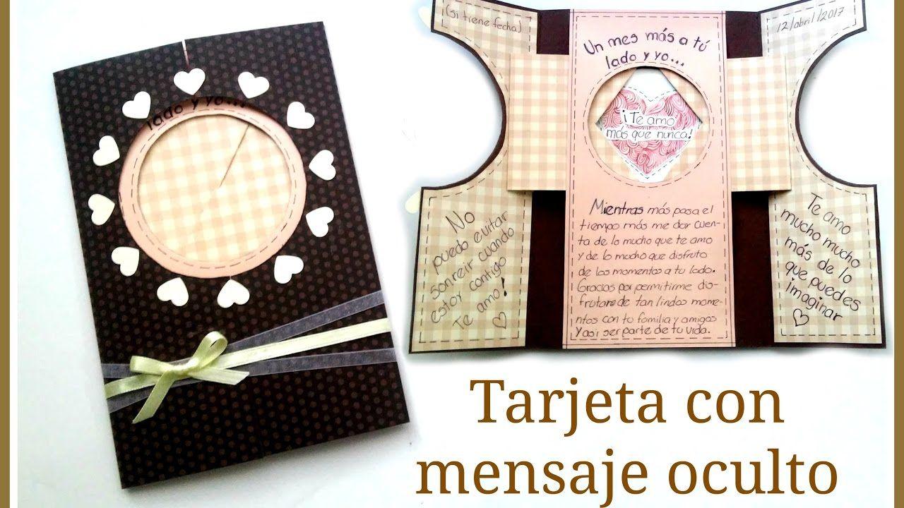 Tarjeta Con Mensaje Oculto Regalo Original Para Cualquier Ocasion Tarjetas Con Mensajes Tarjetas Dobladas Tarjeta