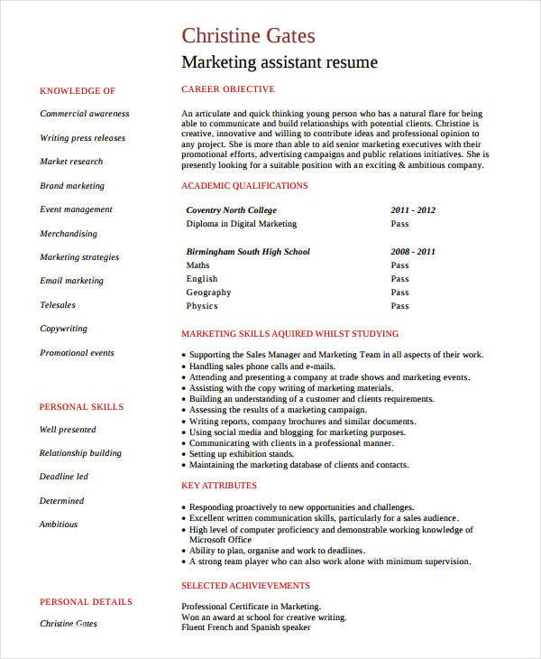 Entry Level Marketing Assistant Resume  Marketing Resume Samples