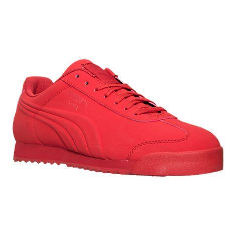 Men's Puma Roma Mono Emboss Casual Shoes - 36197801 RED | Finish Line