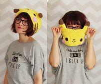 fuzzy pikachu pokemon cowl headband pattern by Hello Happy, for purchase