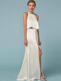 3edad34f4 Vestido largo de poliéster blanco con escote redondo Color liso con  abertura lateral sin mangas estilo moderno