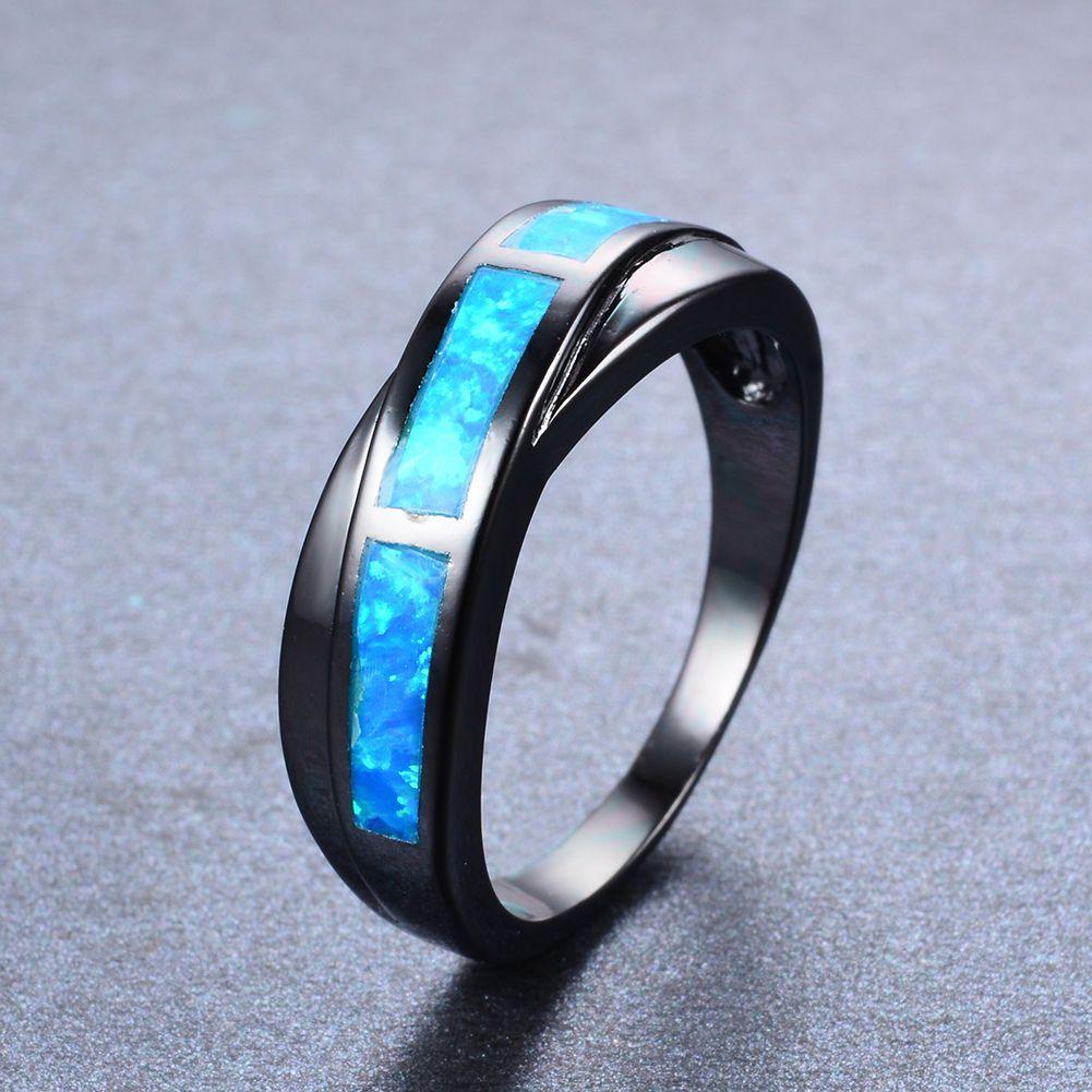 6.99AUD Brand Blue Fire Opals Women Rings Wedding Band