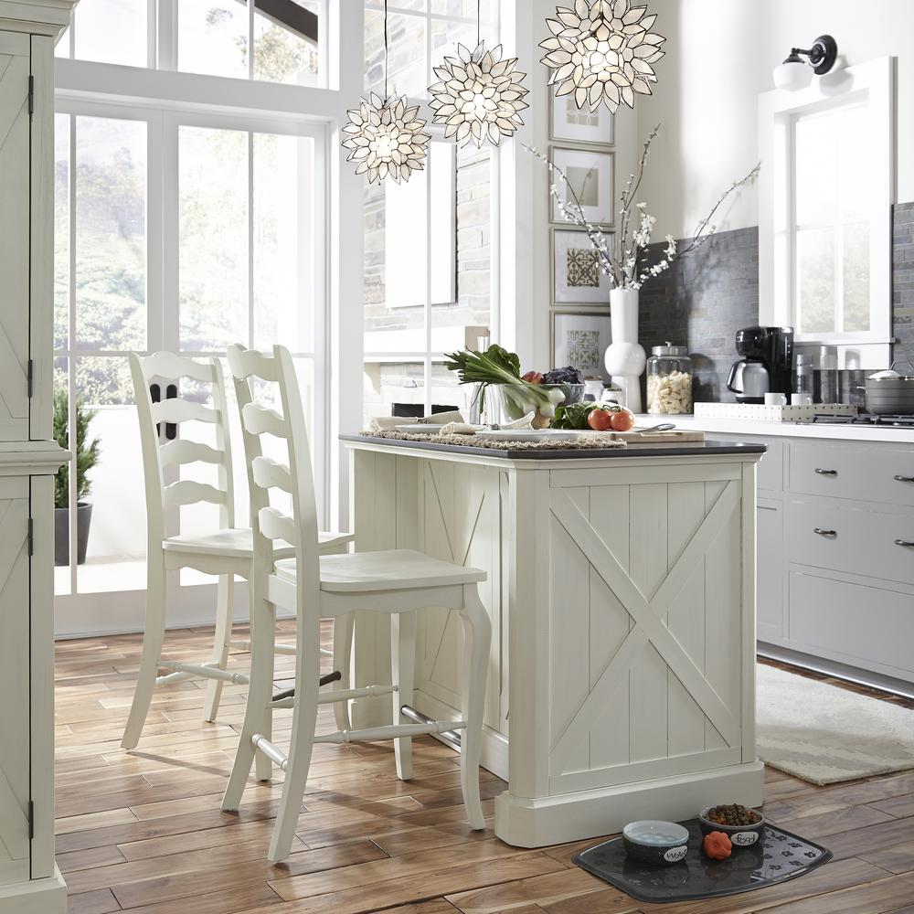 Homestyles Seaside Lodge 24 In Hand Rubbed White Counter Bar Stool 5523 89 The Home Depot Stools For Kitchen Island White Kitchen Island Kitchen Remodel