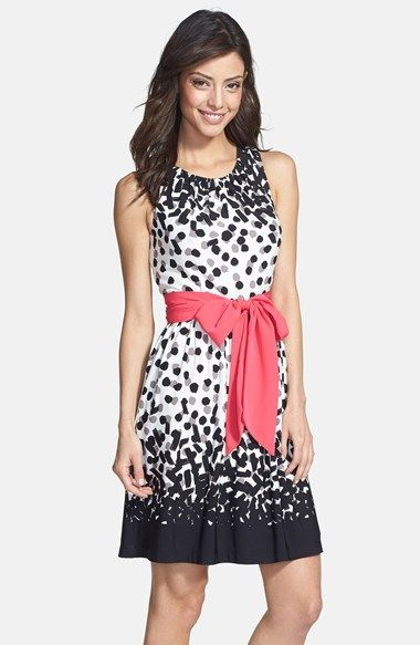 ae4d9294b2 Eliza J Dot Print Jersey Fit   Flare Dress (Regular   Petite) available at