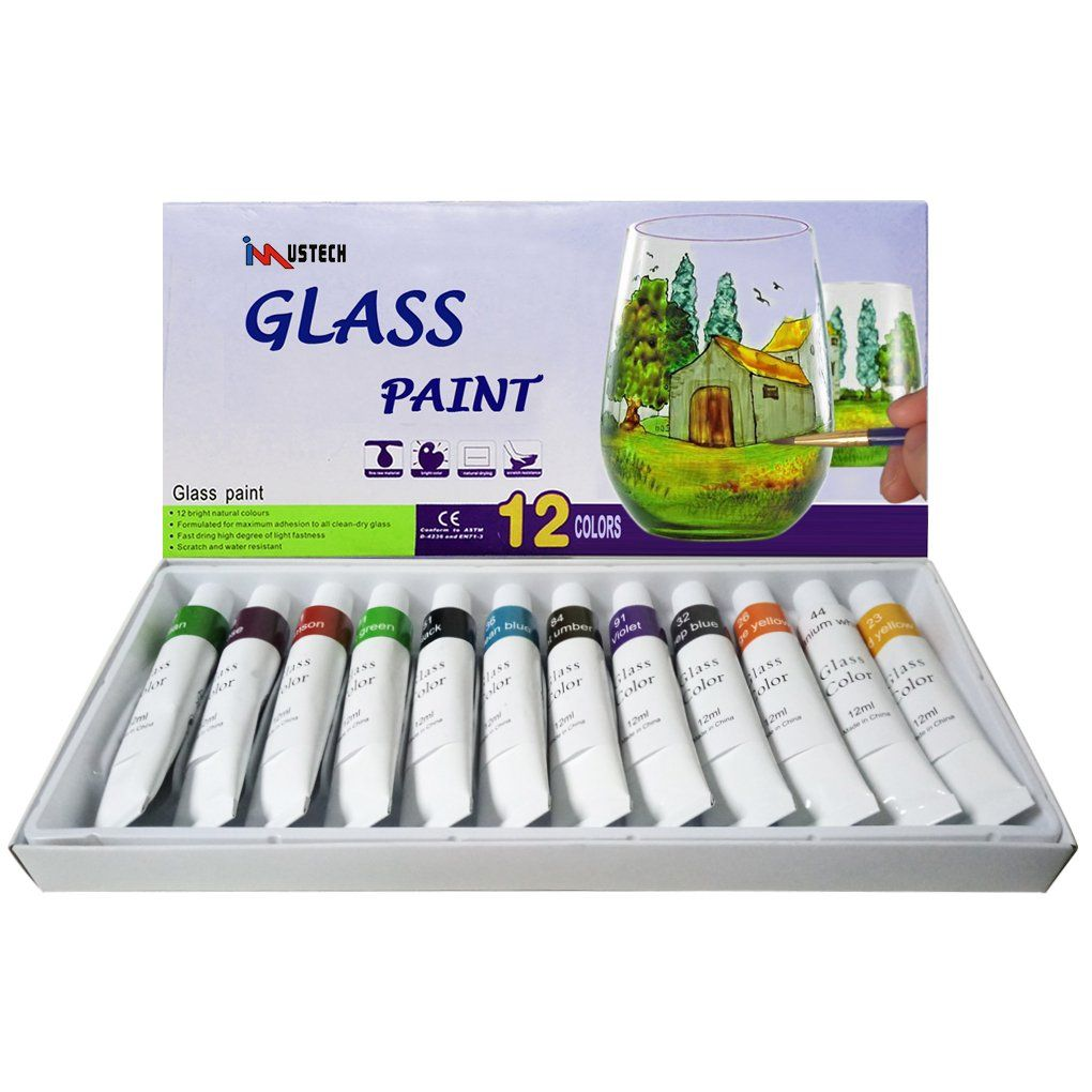 Imustech Glass Paint Set With Palette Glass Window Color Paint On