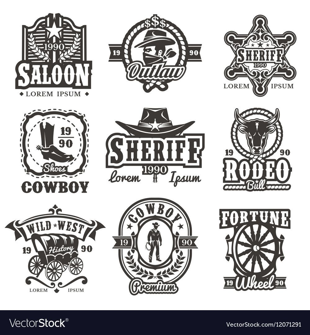 Set of wild west logos Royalty Free Vector Image , AFF,
